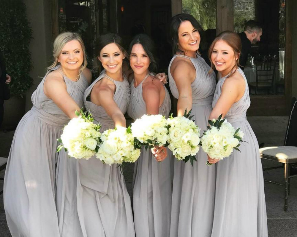 grey bridesmaid dresses by Dessy