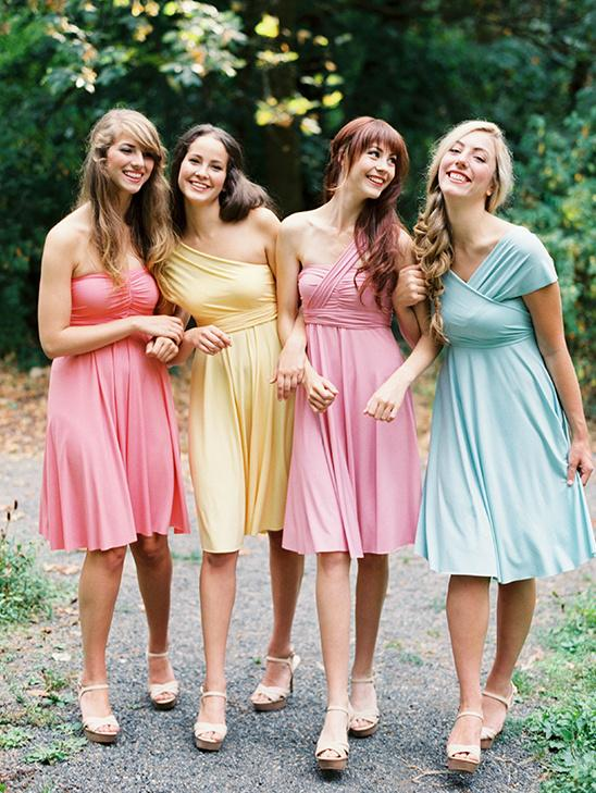 Multicolored vibrant bridesmaid dresses