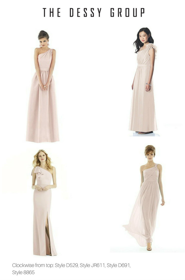 We Ve Shown Gowns In Blush Pink Here But Dessy Has Over 30 Beautiful Styles Of One Shouldered Bridesmaid Dress A Rainbow Colors So You Can Pick Out