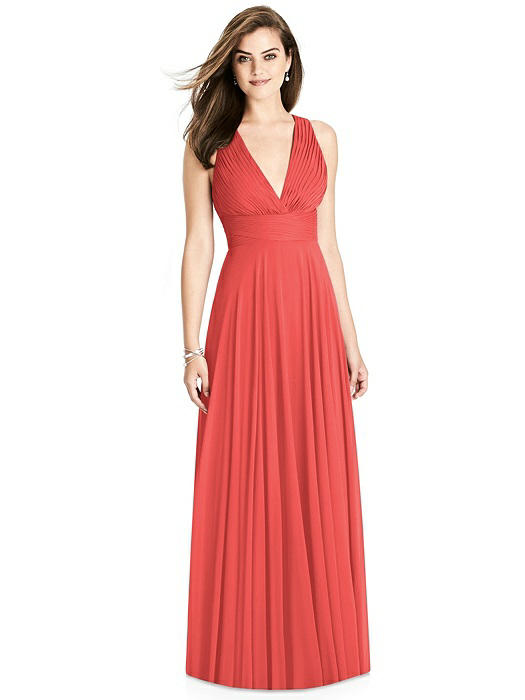 Coral Deep V-Neck Chiffon Gown