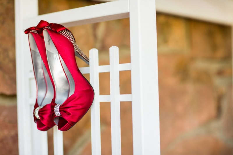 red jeweled wedding heels