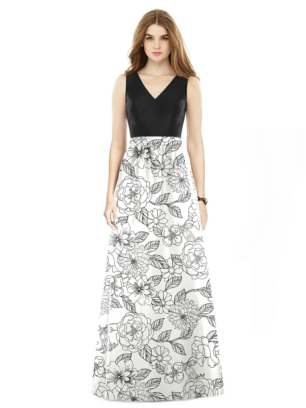 botanica black and white floral bridesmaid dress