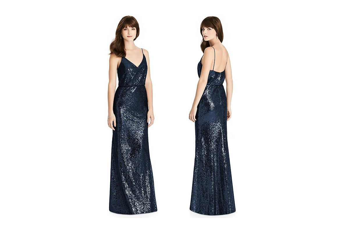 glam sequin spaghetti strap bridesmaid dress