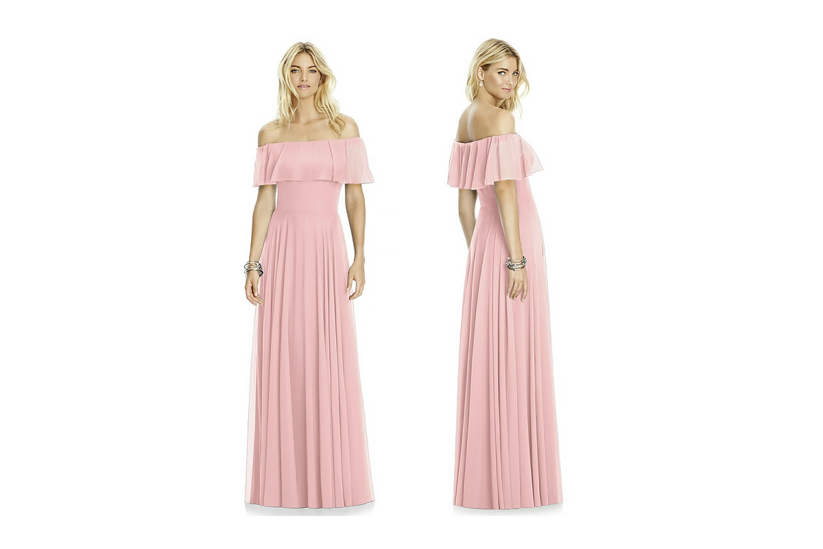 romantic ruffle off-the-shoulder bridesmaid dress