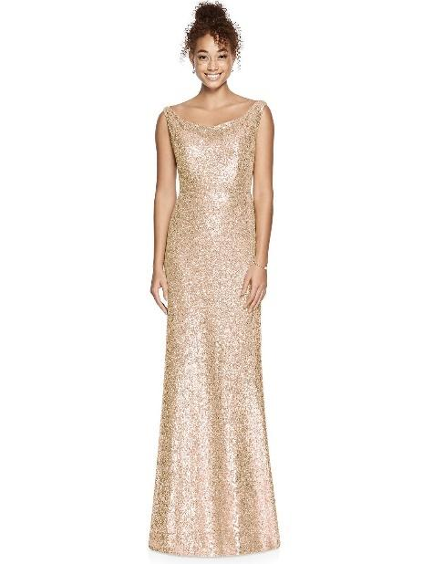 rose gold sleeveless sequin bridesmaid dress