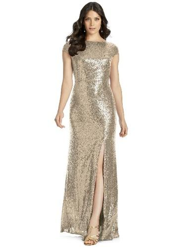 gold sequin bridesmaid gown