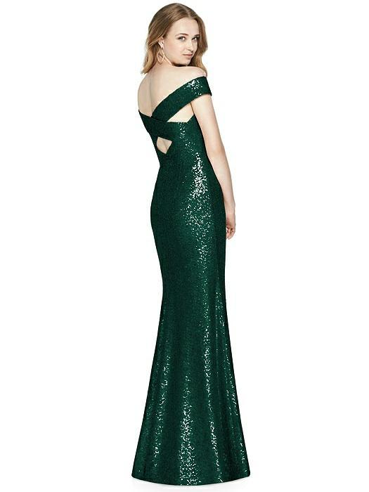 hunter green sequin bridesmaid gown