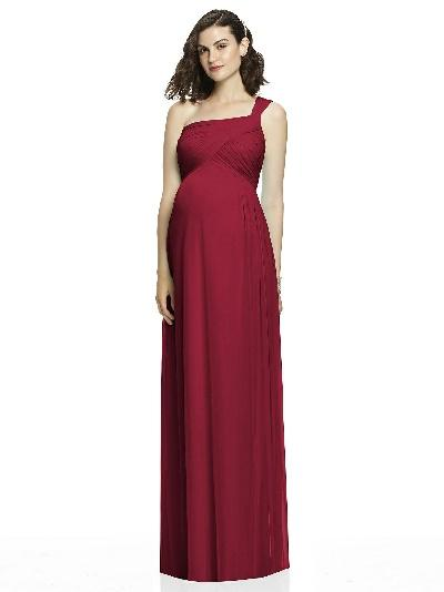 burgundy one shoulder long maternity bridesmaid dress