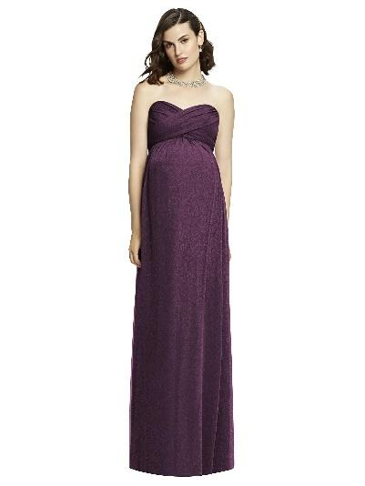 deep purple shimmer strapless long maternity bridesmaid dress
