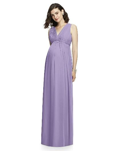 lavender sleeveless long maternity bridesmaid dress