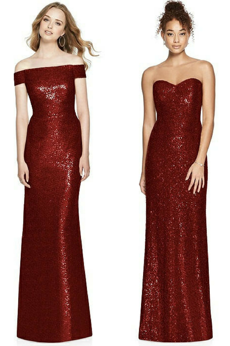 sequin burgundy bridesmaid dresses