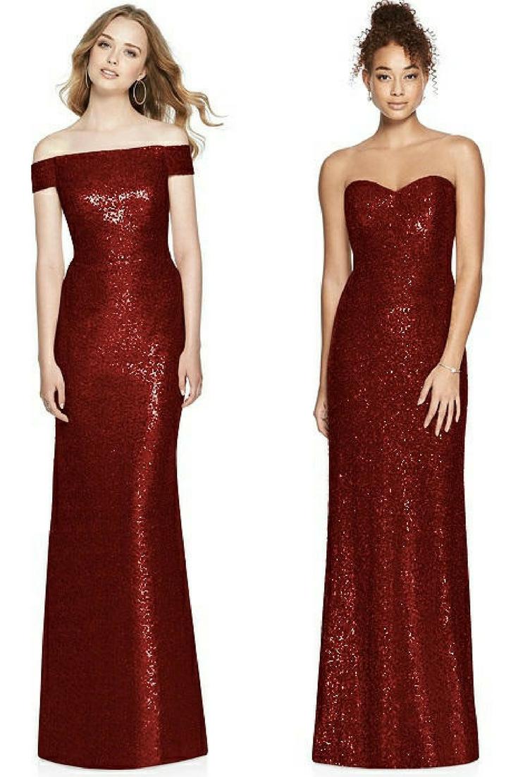 Sequin Burgundy Bridesmaid Dresses