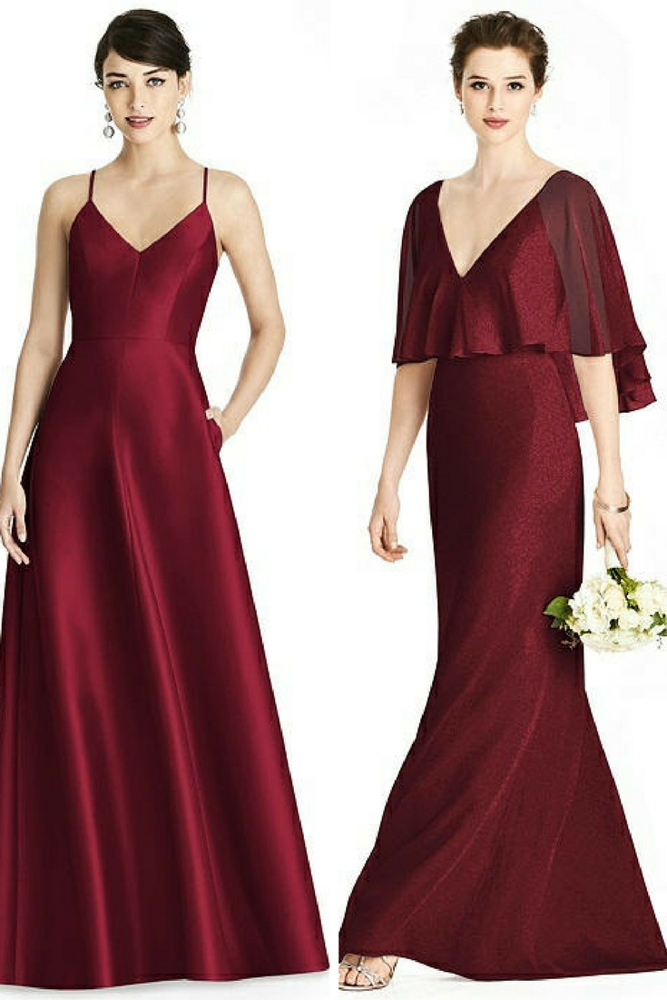 burgundy bridesmaid dresses with sleeves