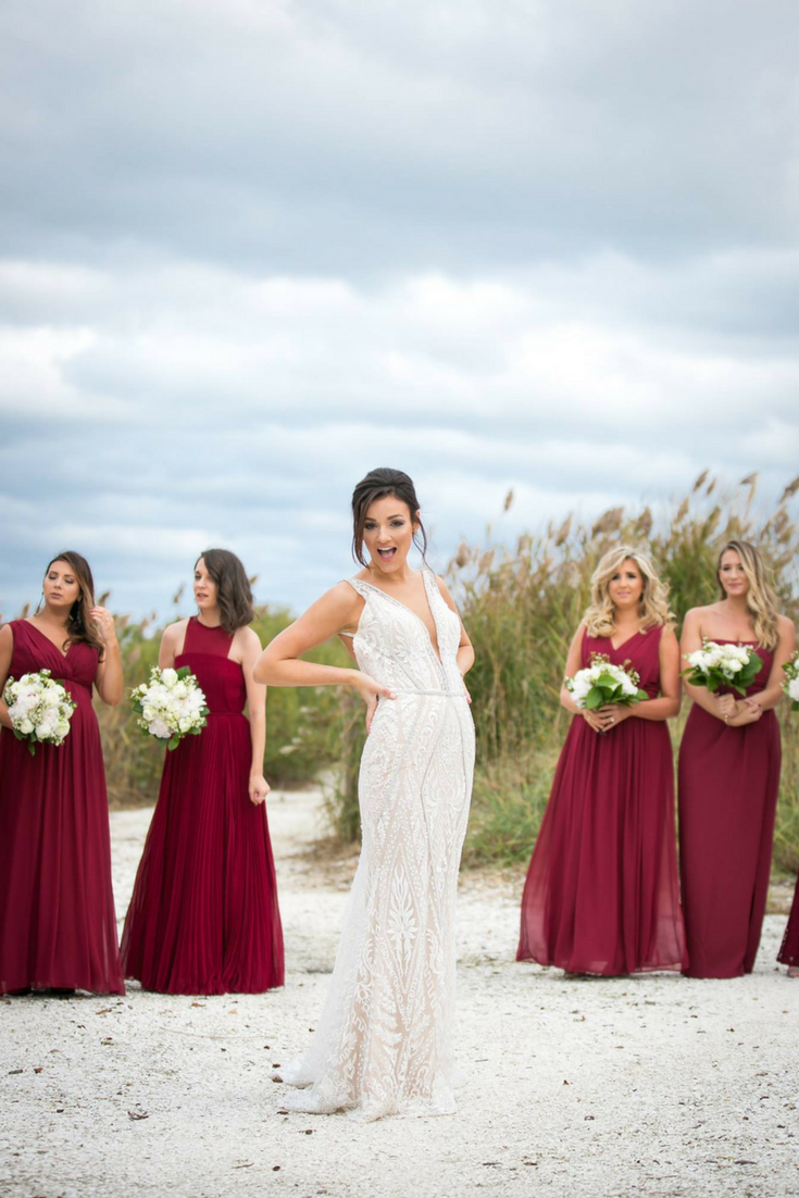 mismatched burgundy bridesmaid dresses