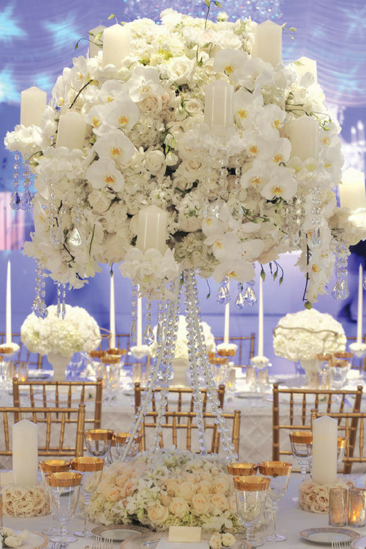 A white and gold wedding theme