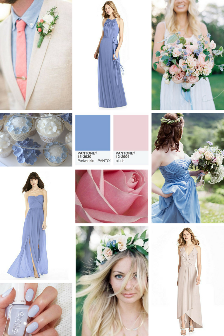 periwinkle blue and pink wedding color theme