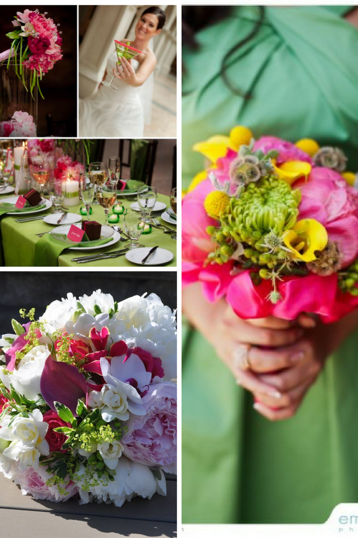 How delicious is this wedding - in raspberry pink and lime green