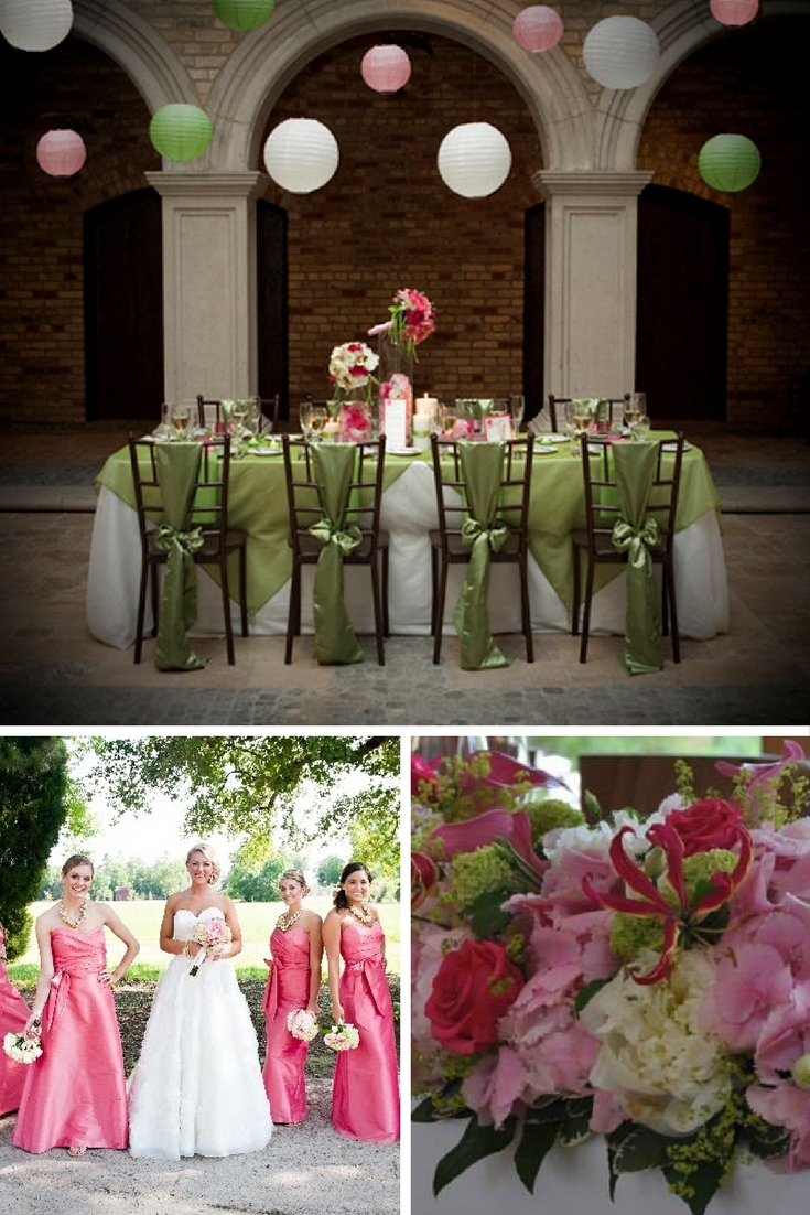 raspberry pink and lime green wedding theme