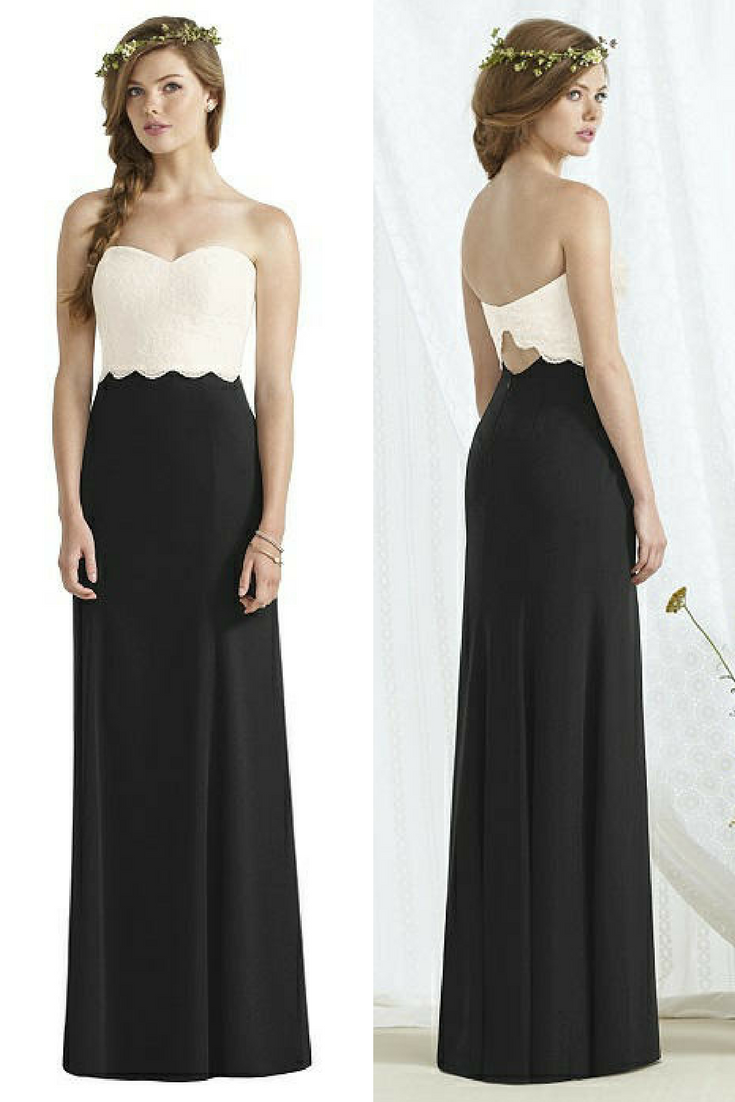 This First One Is Social Bridesmaid 8162 A Full Length Strapless Dress Although Spaghetti Straps Are Optional With Pretty Marquis Lace Bodice And