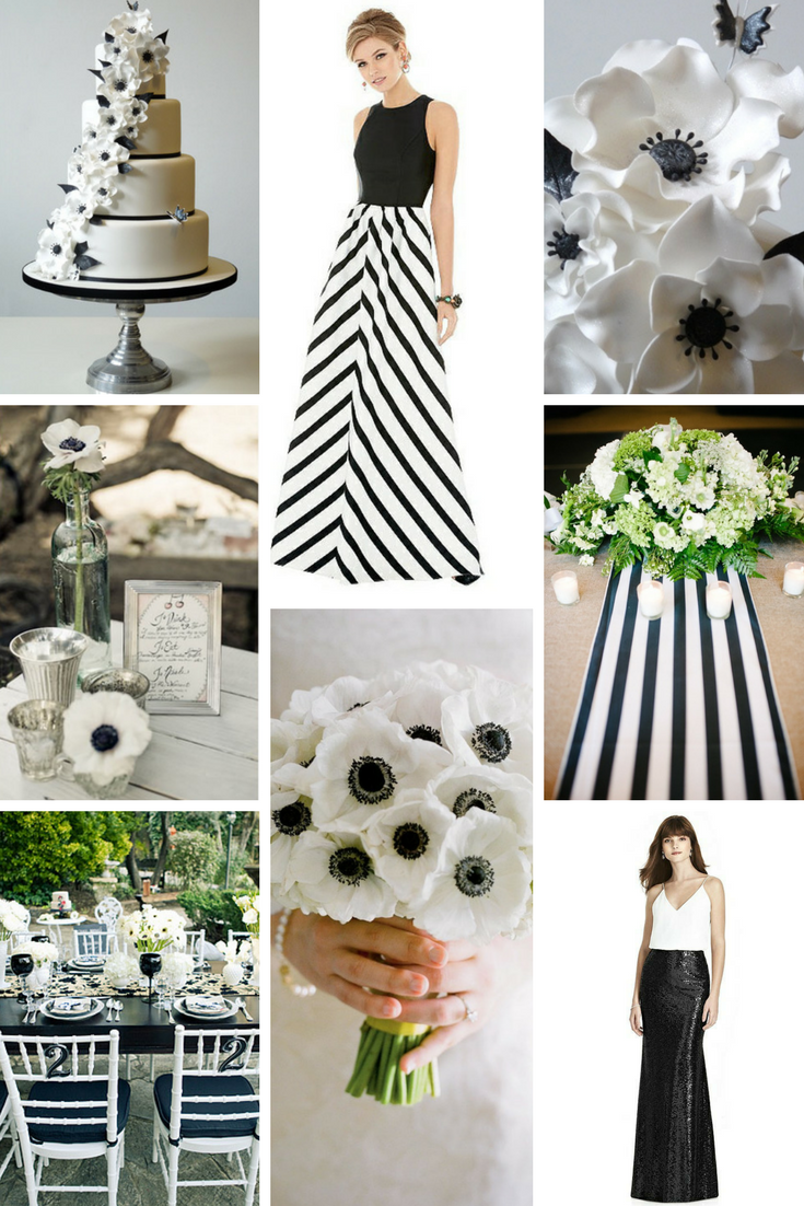 white wedding theme with black accents