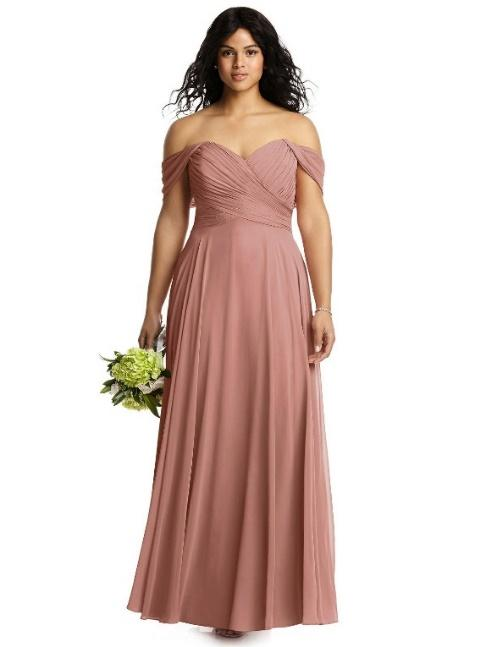 off-shoulder plus size bridesmaid gown