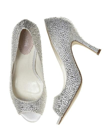 Silver Open Toe Crystal Bridal Heels
