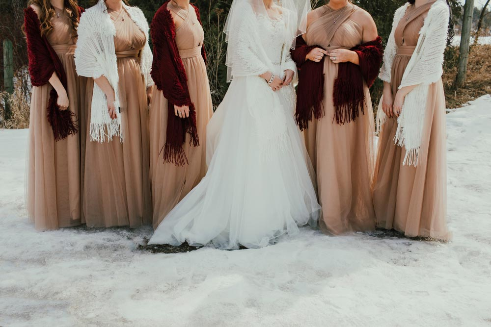 Bride and Bridesmaids in the snow