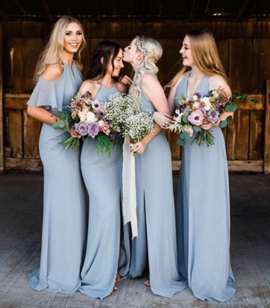 farmhouse barn wedding bridal party