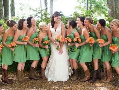 farmhouse wedding bridesmaids boots
