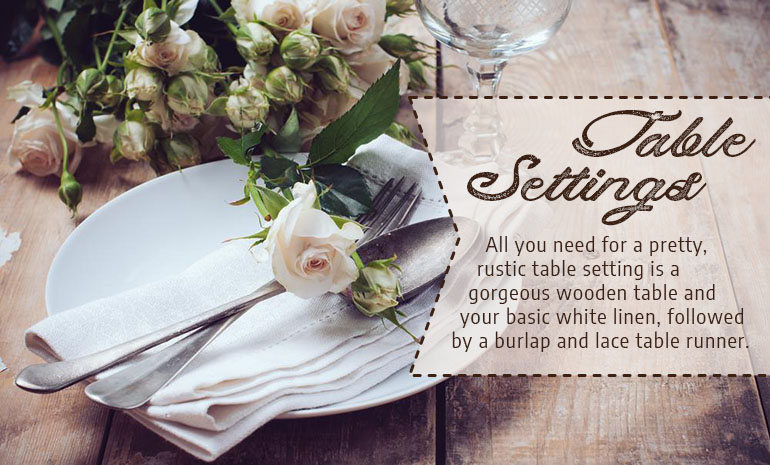farmhouse wedding table settings
