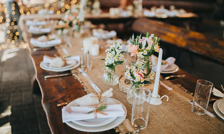 rustic wedding reception tables