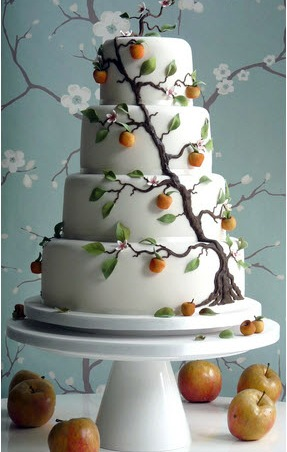 wedding cake decorated with apples - Decorated Cakes