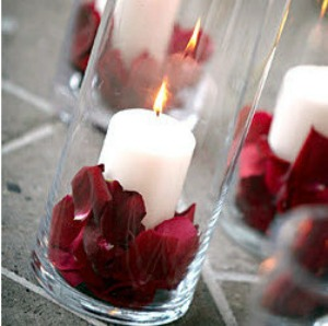 table centres with rose petals