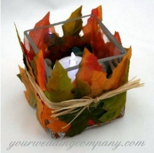autumn leaves wedding table decoration