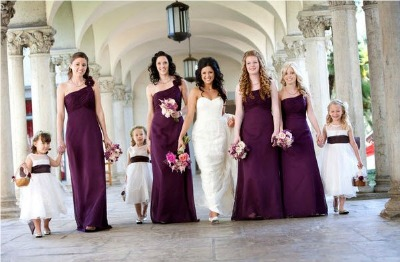 bridesmaids in long burgundy dresses