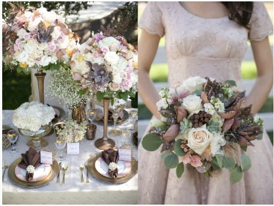 Brown White And Cream Wedding Flowers
