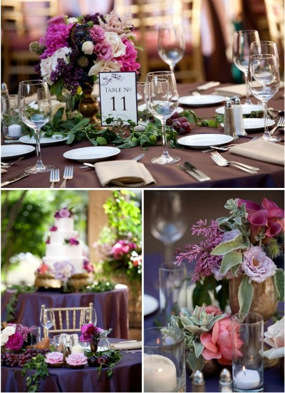 burgundy coloured wedding table decorations