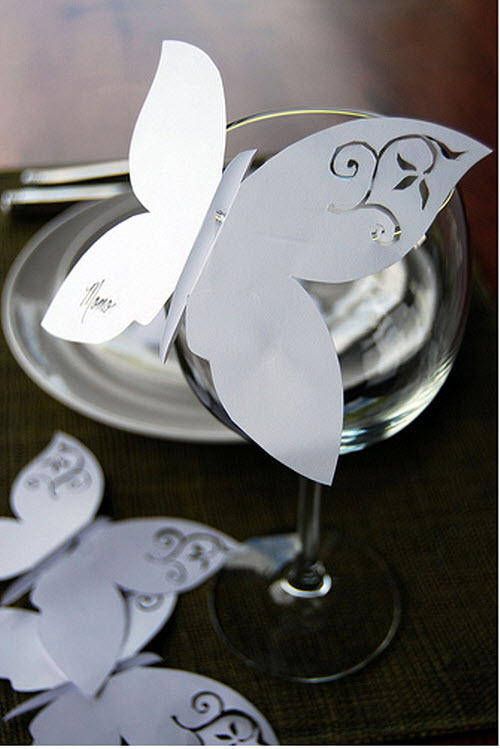 DIY Butterfly Wine Glass Place Cards