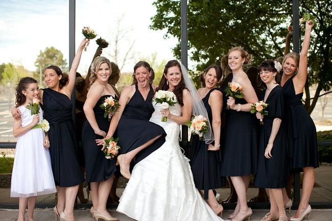Dessy Twist Wrap Dress In A Sophisticated Black Wedding