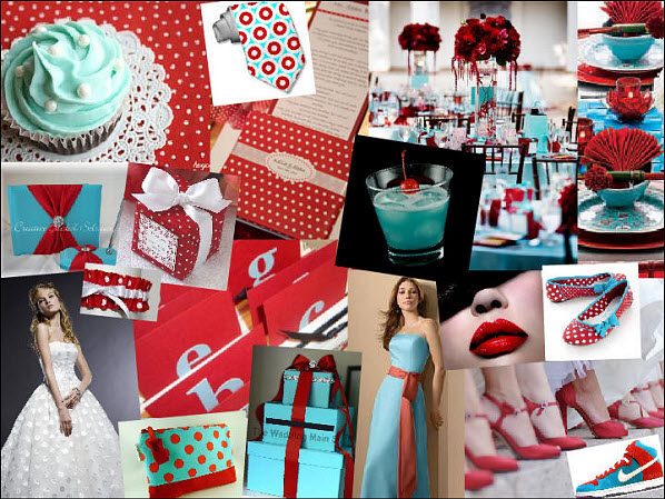 Polka Dot Wedding Inspiration in Red and Teal