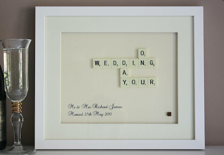 Personalised Scrabble Artwork Gift For The Bride And Groom