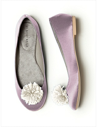 Purple satin wedding ballet flats by Dessy