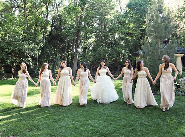 A Classic Ivory Wedding: Dessy Bridesmaid Dresses