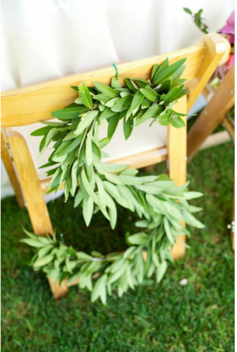 laurel leaf chair back decorations for country garden wedding