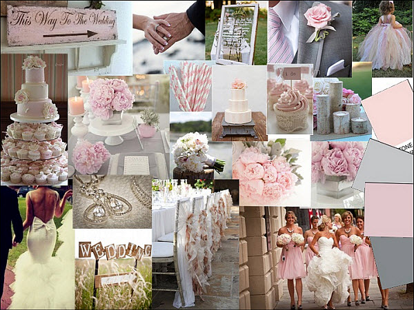 Grey And Whisper Pink Wedding Styleboard