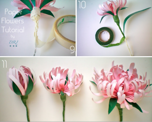 Easy crafting paper flowers to dress up your wedding day paper chrysanthemums mightylinksfo