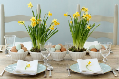 Daffodils used for table decorations at a spring wedding