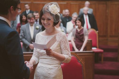 Bride In Register Office 1960s Style Wedding Dress