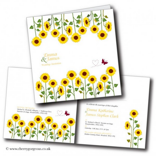 sunflower design wedding invitation
