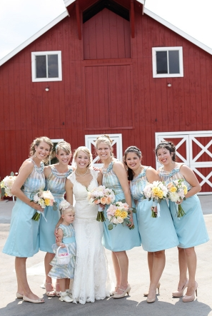 bridesmaids in duck egg blue at pastel wedding